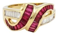 Estate 2.50ct Diamond Ruby Fancy Ribbon Style Ring In 18k Yellow Gold