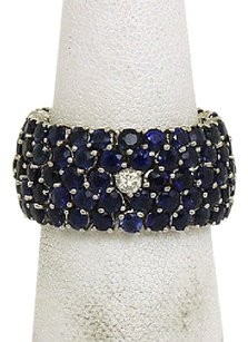 Other 18k White Gold 15.30ctw Diamonds Blue Sapphire Flex Cluster Band Ring