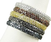 Ladies,Womens,Stackable,Red,White,Yellow,Black,Diamond,Fashion,Wedding,Band,Ring