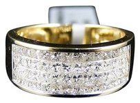 Mens,14k,Yellow,Gold,Princess,Cut,Diamond,Wedding,9,Mm,Band,Ring,2.5,Ct