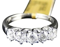 14k,White,Gold,Ladies,5,Stone,Diamond,Engagement,Wedding,Band,Ring,1.03,Ct