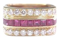 18kt,Gem,Ruby,Diamond,3-row,Jewelry,Ring,Yg,1.95ct