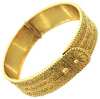 Vintage Estate Zolotas Etruscan Style 18k Yellow Gold Engraved Bangle Bracelet