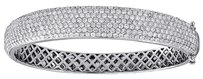 Diamond Domed Bangle 14k White Gold Ladies Round Cut Pave Bracelet 6.75 Ctw.