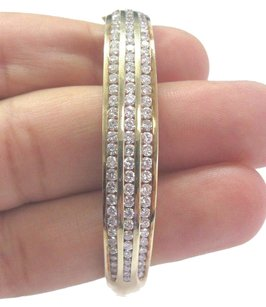 Fine Round Cut Diamond 3-row Yellow Gold Bangle 14kt 96-stones 4.00ct