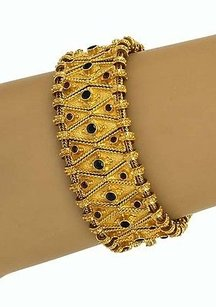 Estate,18k,Gold,Rubies,Sapphires,Ornate,Wide,Bracelet