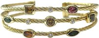 David,Yurman,18kt,Multi,Gem,Diamond,3-row,Cuff,Bracelet,Yg
