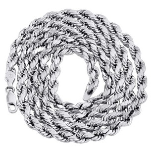 Other 10k White Gold Diamond Cut Hollow Rope Chain 5mm Wide Necklace - Inch