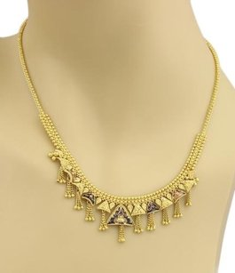 22k Yellow Gold Enamel Tassel Drop Beaded Drape Necklace