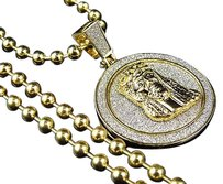 Other Diamond Cut Medallion Style Jesus Piece Chain Set In Yellow Gold Finish 1.75