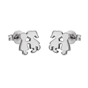 Other Stainless Steel Girl Boy Earrings Silver Tone Girl Boy Studs 9mm Unique Style