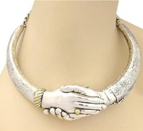 Vintage Yaacov Heller Handshake Choker Necklace In Sterling Silver Ltd 23250