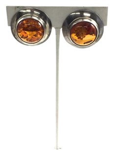 Vintage .925 Sterling Silver Baltic Amber Art Deco Round Earrings