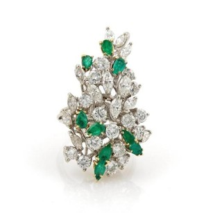 Estate 7.05ct Diamonds Emerald 14k White Gold Hefty Cluster Ring
