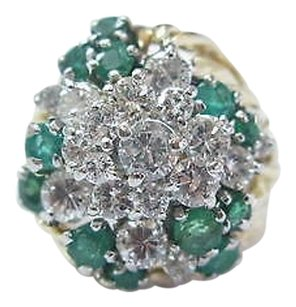 18kt Gem Green Emerald Diamond Cluster Yellow Gold Jewelry Ring 2.44ct