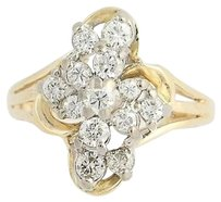 Diamond Cluster Ring - 14k Yellow White Gold Tiered .33ctw