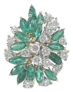 Fine,Gem,Green,Emerald,Diamond,Cluster,Yellow,Gold,Jewelry,Ring,4.50ct