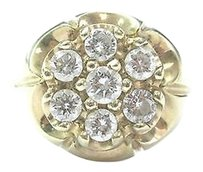 Fine Mens Round Diamond Cluster Yellow Gold Jewelry 7-stone Ring 1.50ct