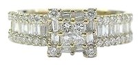 18kt,Princess,Round,Baguette,Diamond,Yellow,Gold,Ring,1.05ct