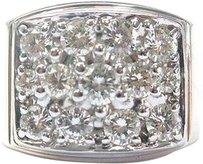 Fine Mens Cluster Wide Diamond Jewelry Ring 2-tone 2.26ct