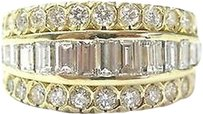 18kt,Round,Baguette,Diamond,Cluster,5-row,Jewelry,Ring,2.14ct