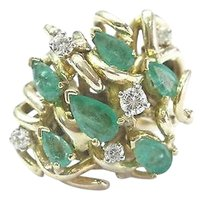 Fine,Gem,Green,Emerald,Diamond,Cluster,Yellow,Gold,Ring,14kt,1.43ct