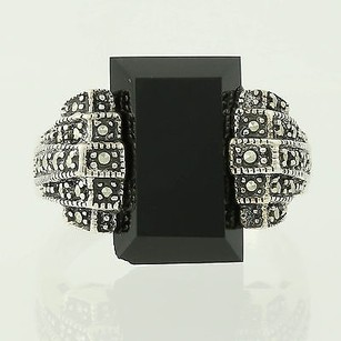 Chunky Onyx Marcasite Ring - Sterling Silver Womens Cocktail