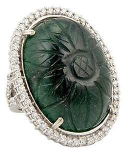 Estate 18k White Gold 82ct Carved Jade Diamond Cocktail Ring