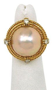 Other Vintage 18k Yellow Gold .40ctw Diamond Pink Mabe Pearl Ladies Cocktail Ring