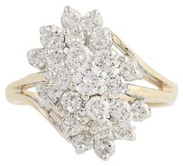 Diamond Cocktail Bypass Ring - 14k Yellow White Gold Tiered Cluster 1.50ctw