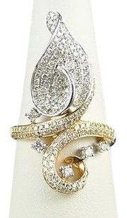 14k,Gold,Ladies,Pink,Rose,Gold,Fashion,Designer,Flower,Leaf,Diamond,Ring,1.30,Ct