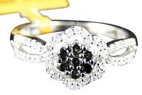 Ladies,Womens,White,Gold,Whiteblack,Diamond,Flower,Fashion,Ring,13,Ct