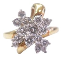 Other 18kt,Round,Cut,Diamond,Cluster,Ring,Yg,1.40ct,