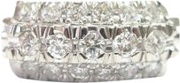 Platinum,Vintage,3-row,Diamond,Jewelry,Ring,.66ct