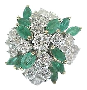 Other Fine,Gem,Green,Emerald,Diamond,White,Gold,Cocktail,Ring,14kt,3.00ct