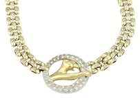 18k Two Tone Gold 2.50ctw Diamond Panther Necklace