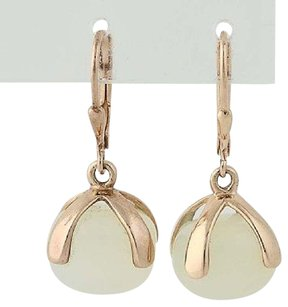 Other White Chalcedony Drop Earrings - Sterling Silver Gold Plated Pierced