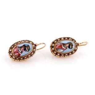 Estate,14k,Rose,Gold,Seed,Pearl,And,Enamel,Hand,Painted,Cameo,Earrings
