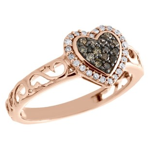 10k Rose Gold Brown Diamond Heart Ring Ladies Filigree Vintage Band 0.25 Ct.