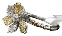 Ladies Wg Sunflower Diamond Engagement Band Pave Ring