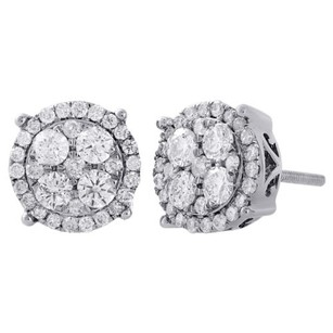 10k White Gold Diamond Circle Studs Cluster 9.60mm Prong Earrings 1 Ct.