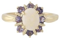 Other Opal Tanzanite Halo Ring - 10k Yellow Gold 14 Womens 1.66ctw
