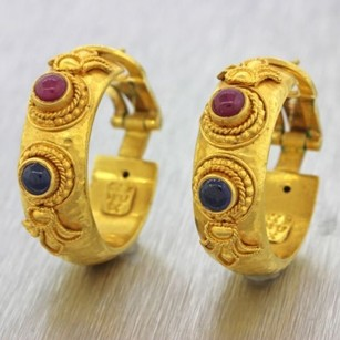1970s Vintage 22k Yellow Gold Sapphire Ruby Ancient Greek Etruscan Earrings