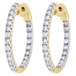 Other 10k Yellow Gold Diamond In Out Hoops Round Hinged Earrings 1.05 Long Ct.