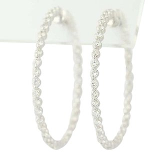 Other Inside-out Diamond Hoop Earrings - 14k White Gold Pierced 1.80ctw
