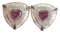 Other 18kt Trillion Cut Gem Pink Tourmaline Sapphire Diamond Earrings Yg 14.01ct