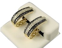 14k,Ladies,Y,Gold,Diamond,Hoops,Huggie,Earrings,1.25,Ct