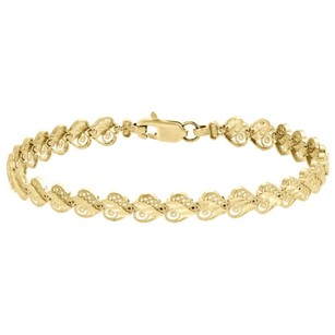 Other Ladies 10k Yellow Gold Diamond Cut Heart Shape 7mm Link Milgrain Bracelet 8