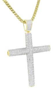 Stainless Steel Franco Chain Cross Pendant Cylinder Style Lab Diamonds Iced Out