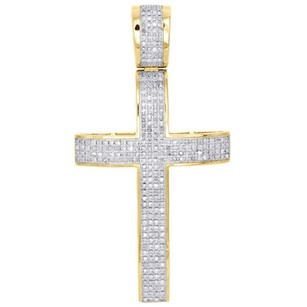 10k Yellow Gold Genuine Diamond Cross Domed Pendant 2.40 Pave Charm 0.56 Ct.
